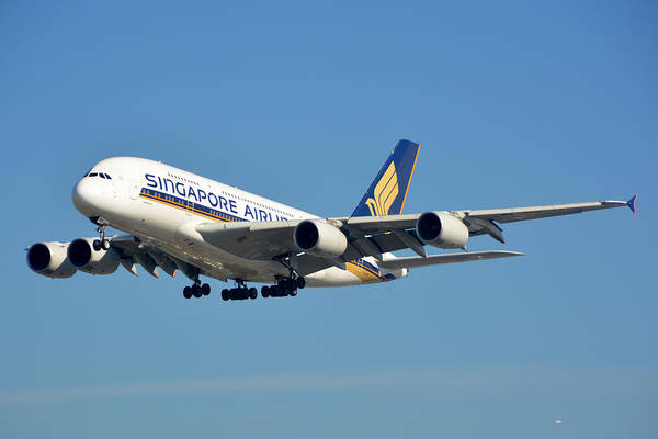 Airbus A380 Wall Art - Photograph - Singapore Airbus A380-841 9v-skn Los Angeles International Airport January 19 2015 by Brian Lockett