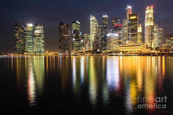 Photograph - Singapore At Night by Didier Marti