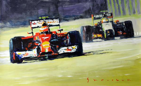Wall Art - Painting - 2014 Singapore Gp Raikkonen Scuderia Ferrari F14 T Perez Sahara Force India F1  by Yuriy Shevchuk