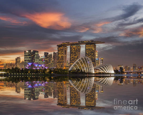 Conservatory Photograph - Singapore Skyline Beautiful Sunset by Colin and Linda McKie
