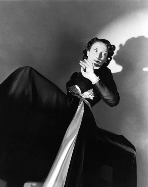 Silver Photograph - Singer Greta Keller Wearing A Black Dress by Horst P. Horst
