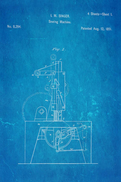 Dressmaker Wall Art - Photograph - Singer Sewing Machine Patent Art 1851 Blueprint by Ian Monk