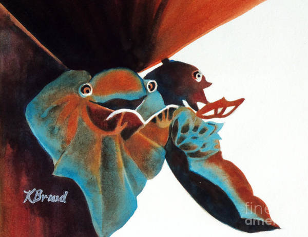 Carving Painting - Singing Frog Duet 2 by Kathy Braud