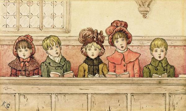 Books Drawing - Singing In Church by Kate Greenaway