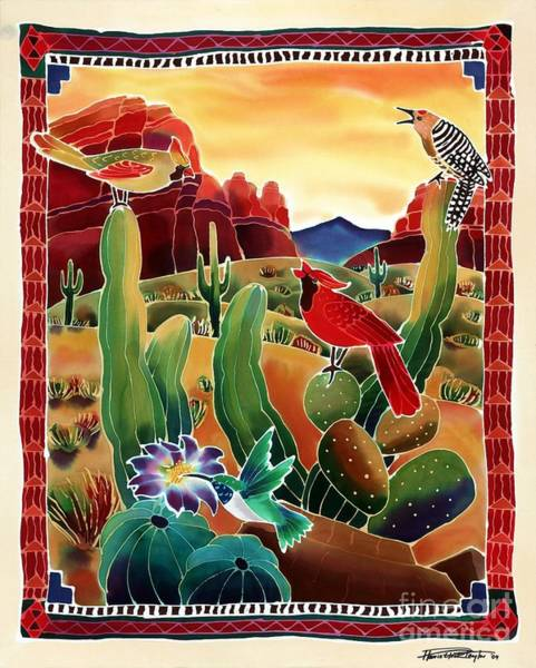 Batik Wall Art - Painting - Singing In The Desert Morning by Harriet Peck Taylor