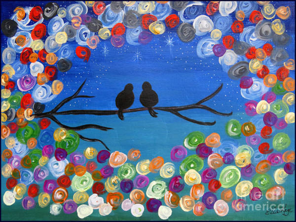 Wall Art - Painting - Singing To The Stars Tree Bird Art Painting Print by Ella Kaye Dickey