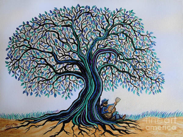 Strum Wall Art - Painting - Singing Under The Blues Tree by Nick Gustafson