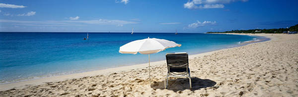 St. Maarten Photograph - Single Beach Chair And Umbrella On by Panoramic Images
