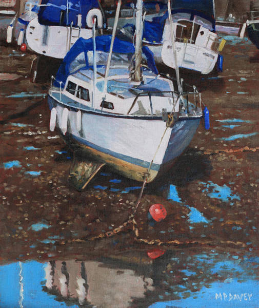 Wall Art - Painting - Single Boat On Eling Mudflats by Martin Davey