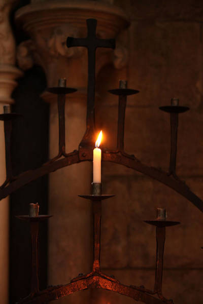 Photograph - Single Church Candle Burning by Sarah Broadmeadow-Thomas