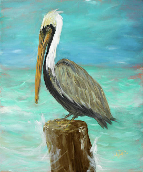 Wall Art - Painting - Single Pelican On Post by Julie Derice