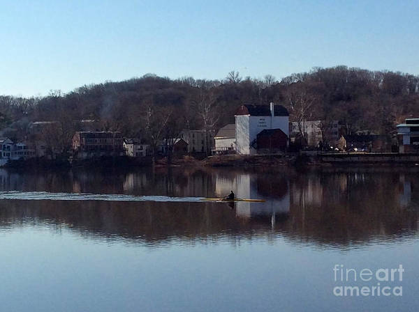 Single Scull On The Delaware Art Print