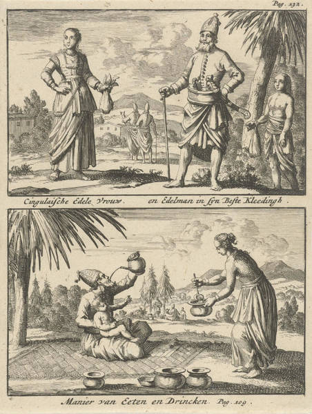 Courtiers Drawing - Sinhalese Nobleman And Noblewoman, Way Of Eating by Jan Luyken And Willem Broedelet