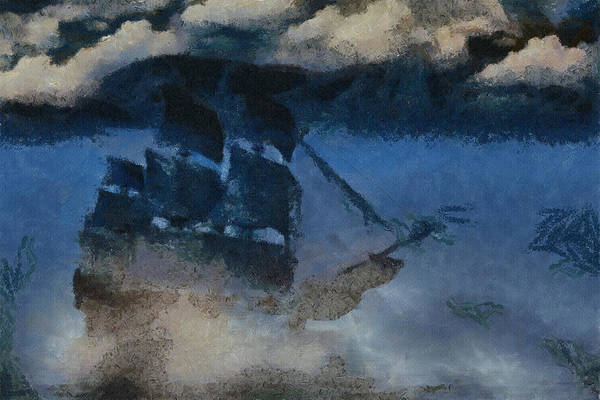 Tranquility Painting - Sinking Sailer by Inspirowl Design