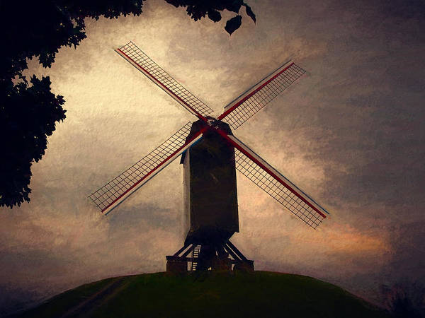 Belgium Mixed Media - Sint Janshuysmolen Stilt Windmill by John K Woodruff