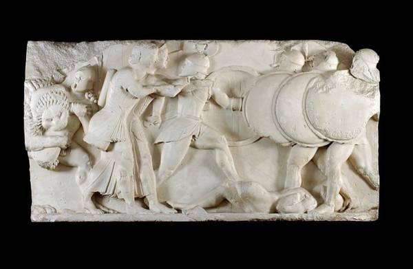 Artemis Photograph - Siphnian Treasury Frieze by Ashmolean Museum/oxford University Images