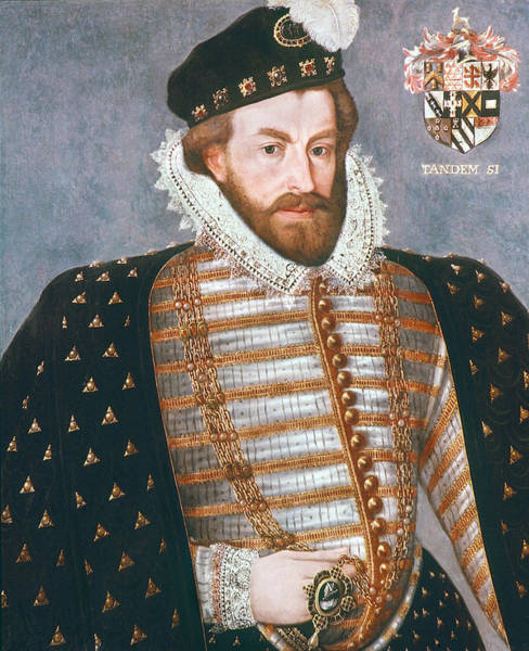 Wall Art - Painting - Sir Christopher Hatton (1540-1591) by Granger