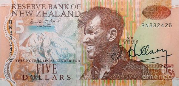 Wall Art - Photograph - Sir Edmund Hillary Signed Banknote by Rudi Prott