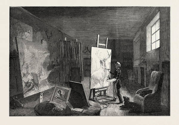 Wall Art - Drawing - Sir Edwin Landseers Studio by English School