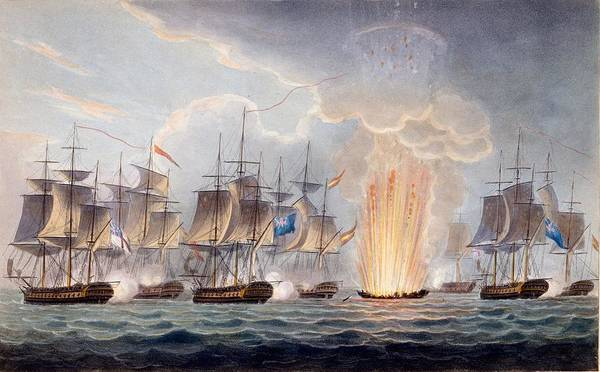 Explosion Drawing - Sir Graham Moores Action Off Cape St by English School