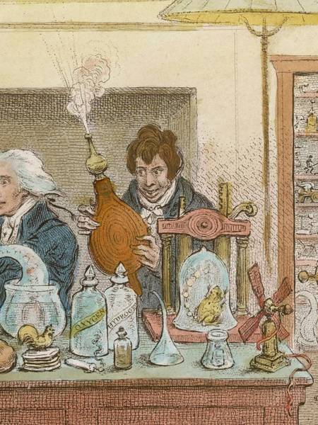 Wall Art - Drawing - Sir Humphry Davy Experimenting by Mary Evans Picture Library