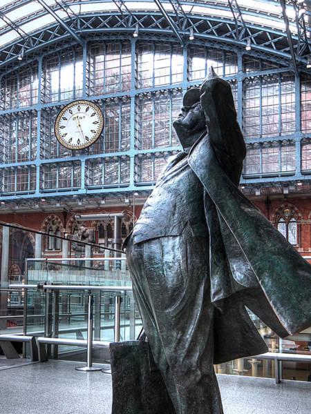 Photograph - Sir John Betjeman Statue And Clock At St Pancras Station by Gill Billington
