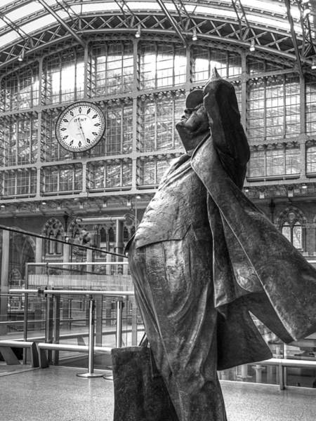 Photograph - Sir John Betjeman Statue And Clock At St Pancras Station In Black And White by Gill Billington