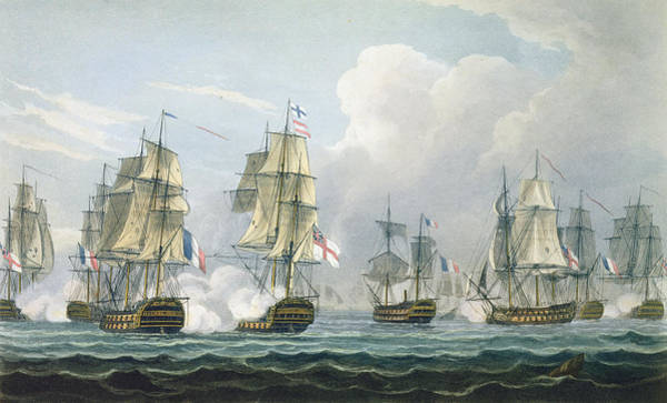 Warfare Drawing - Sir Richard Strachans Action by Thomas Whitcombe