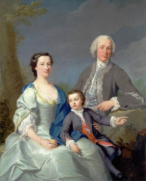 Finger Paint Painting - Sir Robert And Lady Smyth With Their Son by Litz Collection