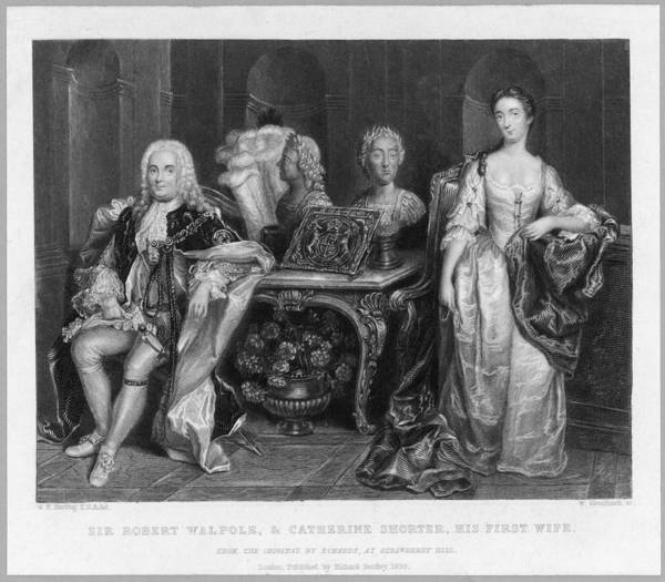 Wall Art - Drawing - Sir Robert Walpole And His  First Wife by Mary Evans Picture Library