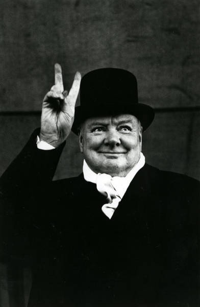 Nobel Wall Art - Photograph - Sir Winston Churchill Peace Sign by Retro Images Archive