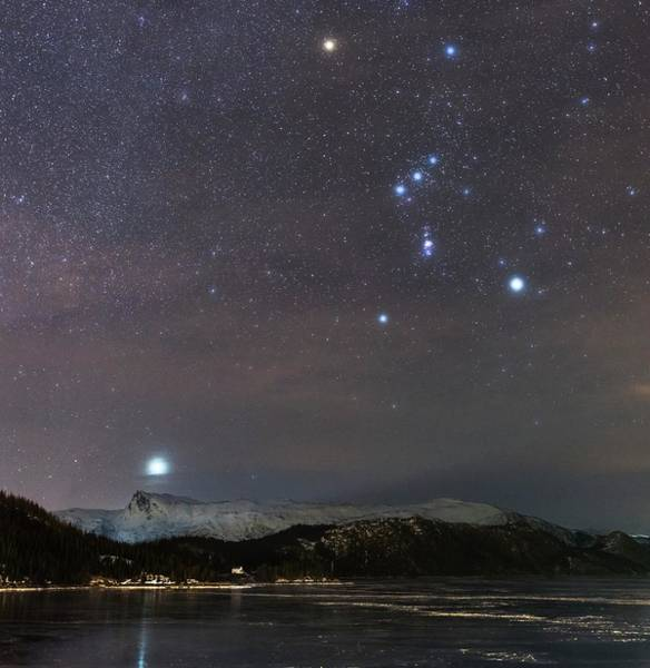 Wintry Photograph - Sirius Rising With Orion by Tommy Eliassen