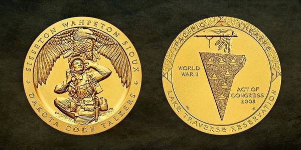 Code Talkers Photograph - Sisseton Wahpeton Oyate Sioux Tribe Code Talkers Bronze Medal Art by Movie Poster Prints