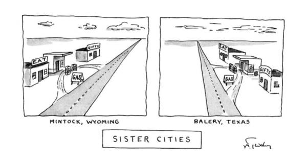 June 17th Drawing - Sister Cities by Mike Twohy