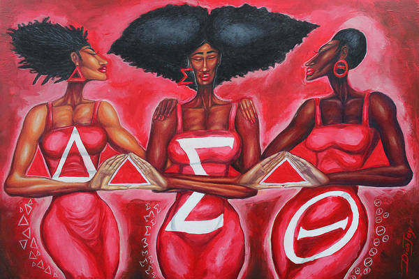 Sisters Wall Art - Painting - Sisterly Love Delta Sigma Theta by The Art of DionJa'Y