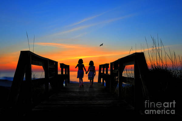 Photograph - Sisters Holding Hands Watching Sunrise by Dan Friend