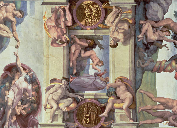 The Creation Of Adam Wall Art - Painting - Sistine Chapel Ceiling 1508-12 The Creation Of Eve, 1510 Fresco Post Restoration by Michelangelo Buonarroti
