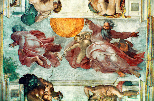 Genesis Photograph - Sistine Chapel Ceiling Creation Of The Sun And Moon, 1508-12 Fresco by Michelangelo Buonarroti