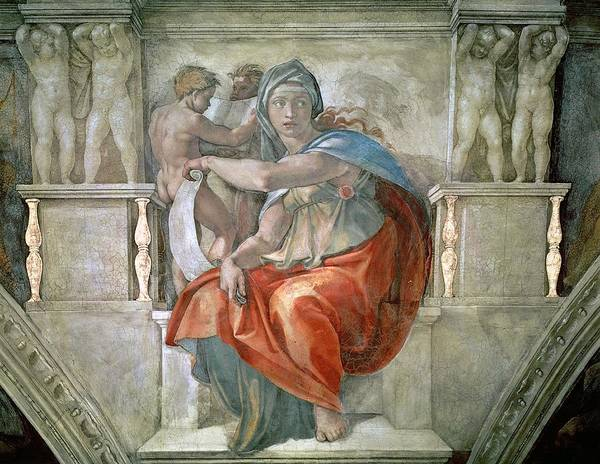 Putto Photograph - Sistine Chapel Ceiling Delphic Sibyl Fresco by Michelangelo Buonarroti