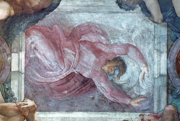 Genesis Photograph - Sistine Chapel Ceiling God Dividing Light From Darkness Pre Restoration by Michelangelo Buonarroti