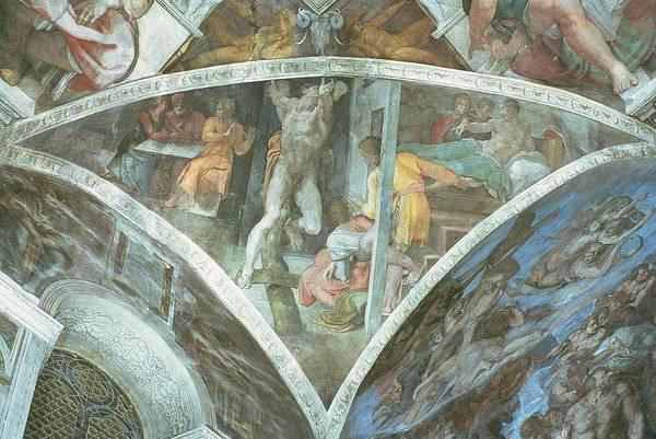 Renaissance Photograph - Sistine Chapel Ceiling Haman Spandrel Pre Restoration by Michelangelo Buonarroti