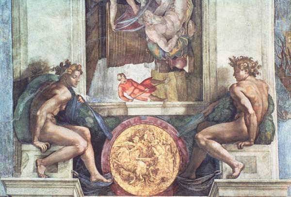 Renaissance Photograph - Sistine Chapel Ceiling Ignudi Pre Restoration by Michelangelo Buonarroti
