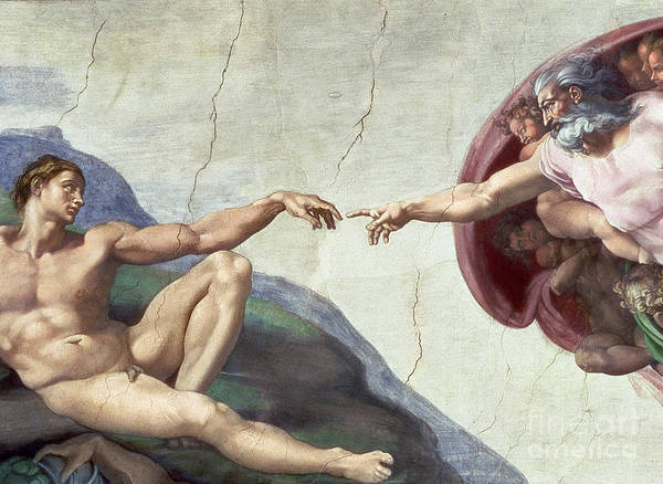 The Creation Of Adam Wall Art - Painting - Sistine Chapel Ceiling by Michelangelo Buonarroti