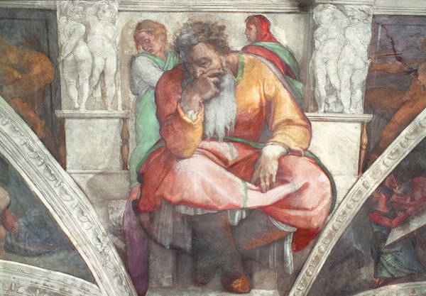 Wall Art - Painting - Sistine Chapel Ceiling The Prophet Jeremiah Pre Resoration by Michelangelo Buonarroti