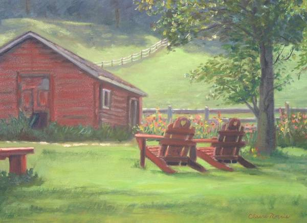 Adirondack Mountains Painting - Sit Awhile by Claire Norris