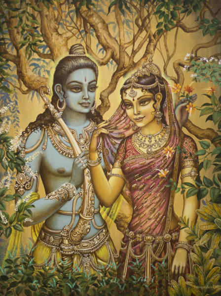 Indian God Painting - Sita And Ram by Vrindavan Das