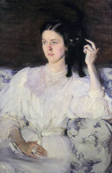 Wall Art - Painting - Sita And Sarita, Or Young Girl With A Cat by Cecilia Beaux