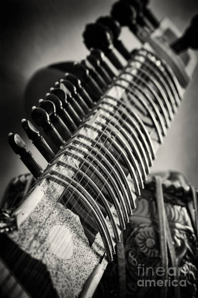Frets Photograph - Sitar And Tabla Monochrome by Tim Gainey