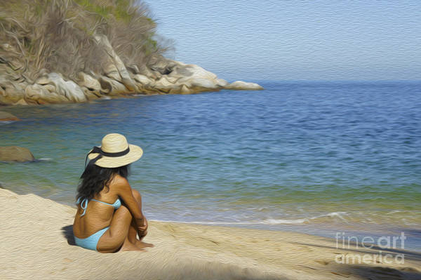 Wall Art - Photograph - Sitting At The Beach by Aged Pixel