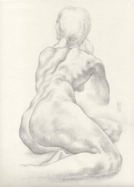 Drawing - Sitting Female Nude In 4b Graphite With Twin Pony Tails Seen From Behind Looking Up To Her Left by Scott Kirkman